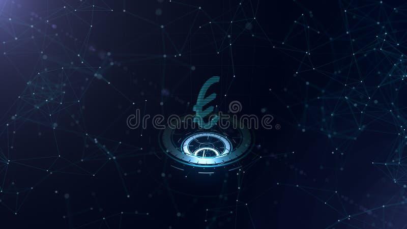 Превосходный знак евро 3d Фон виртуального пространства космоса голубой с доступами в интернет Валюта евро на 3 виртуальном иллюстрация штока