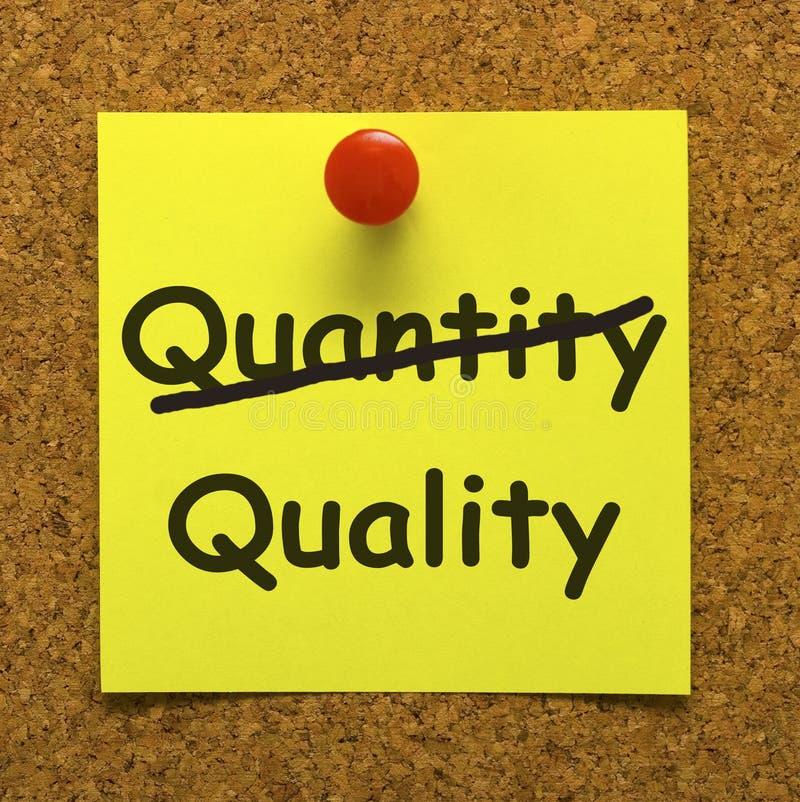 превосходный показ качества продукции примечания стоковое изображение rf