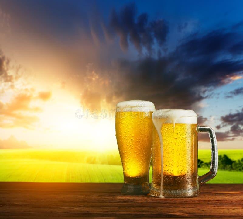 Превосходное светлое пиво на деревянном столе стоковая фотография rf