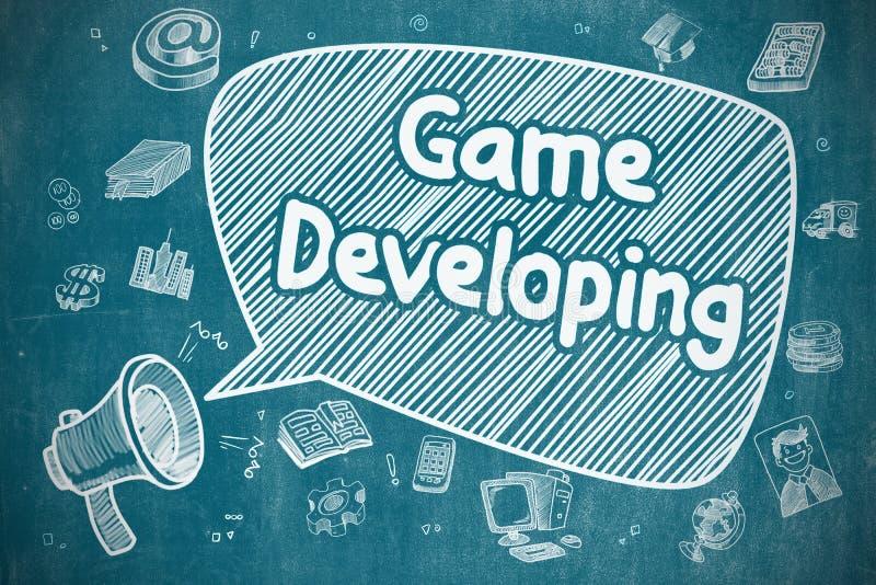 Превращаться игры - иллюстрация Doodle на голубой доске иллюстрация вектора