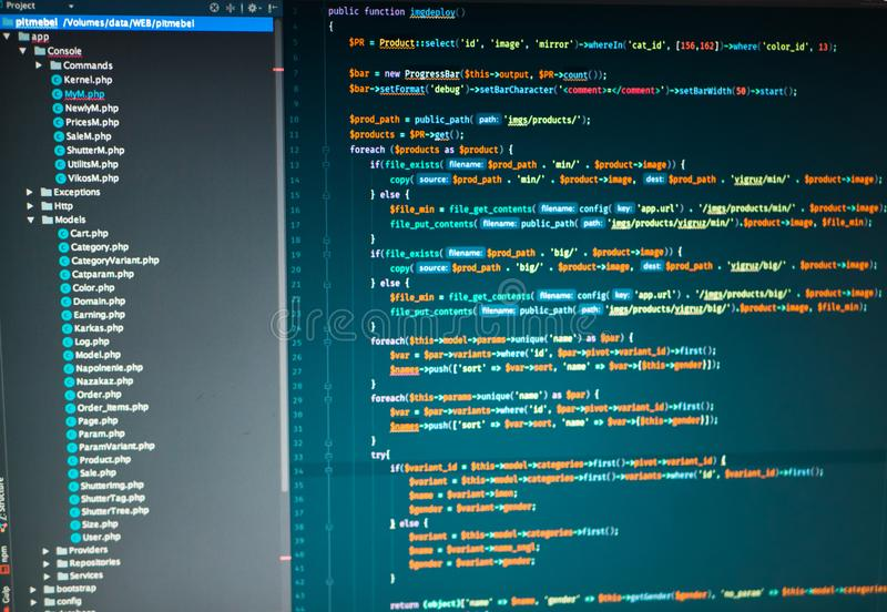 Превращаться Php места в редакторе кода стоковая фотография rf
