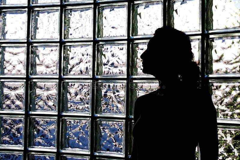 преграждает стеклянную женщину стоковое изображение rf