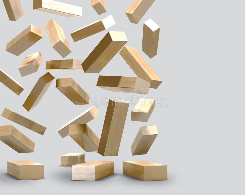 Преграждает деревянное jenga игры на серой предпосылке иллюстрация штока