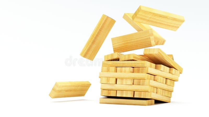 Преграждает деревянную игру (jenga) на белой предпосылке иллюстрация штока