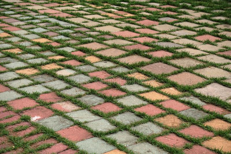 Преградите вымощенную зону с картиной травы ввода стоковые изображения rf