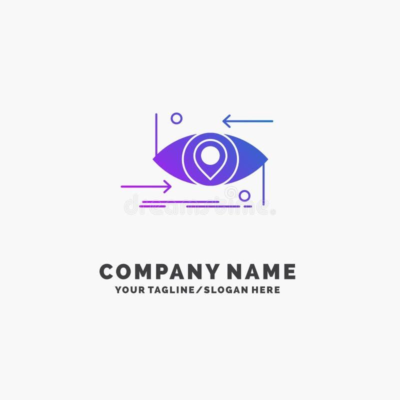 Предварительный, будущий, gen, наука, технология, шаблон логотипа дела глаза пурпурный r иллюстрация штока