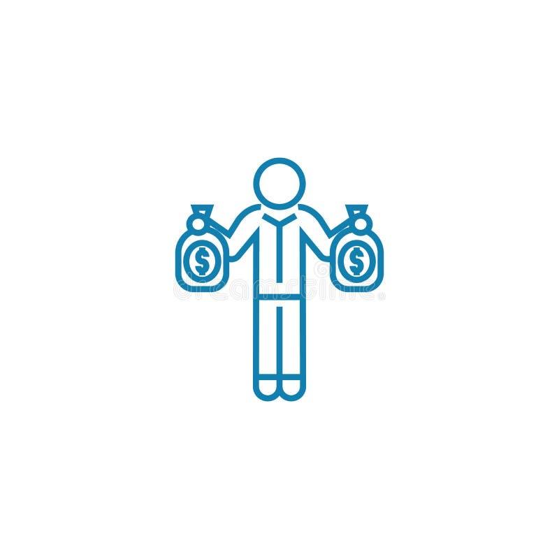 Предложение концепцией значка инвестора линейной Предложите линией знаком инвестора вектора, символом, иллюстрацией иллюстрация штока