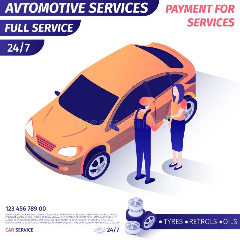 Предложения знамени утешают оплату для обслуживания автомобиля полного иллюстрация вектора