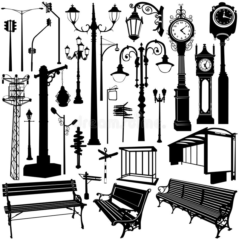 предметы города иллюстрация вектора