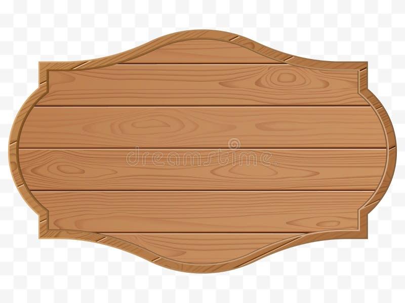 предмет над деревянным signboard белое Деревянная текстура Старый изолированный знак вектор иллюстрация штока