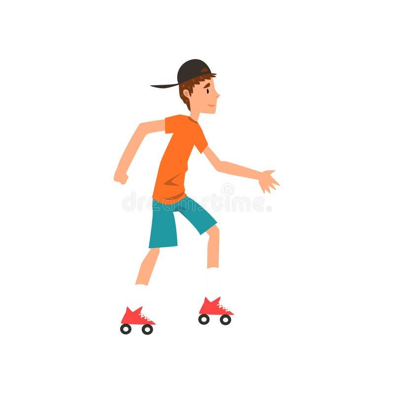 Предназначенная для подростков завальцовка на лезвиях ролика, активная здоровая иллюстрация мальчика вектора шаржа концепции обра бесплатная иллюстрация