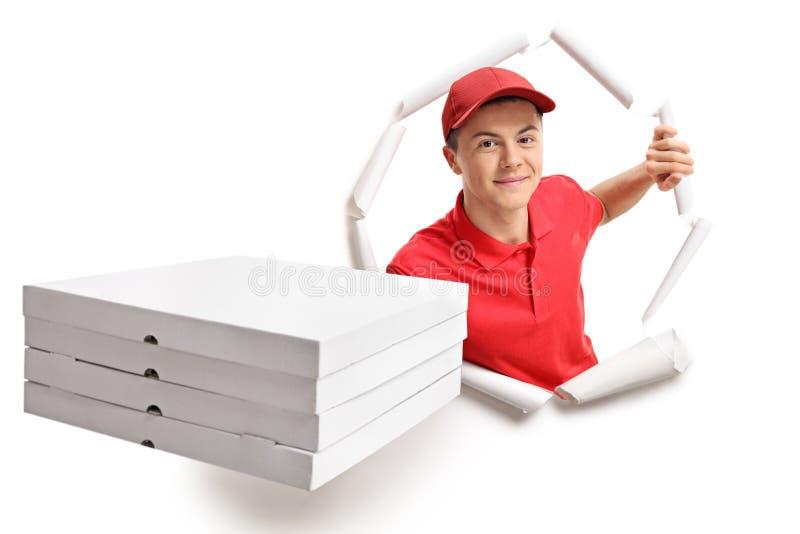 Предназначенный для подростков носильщик мелких грузов выходить бумага стоковая фотография rf