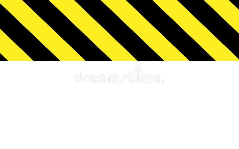 Предосторежение или предупреждение в черных и желтых нашивках с белой частью иллюстрация вектора