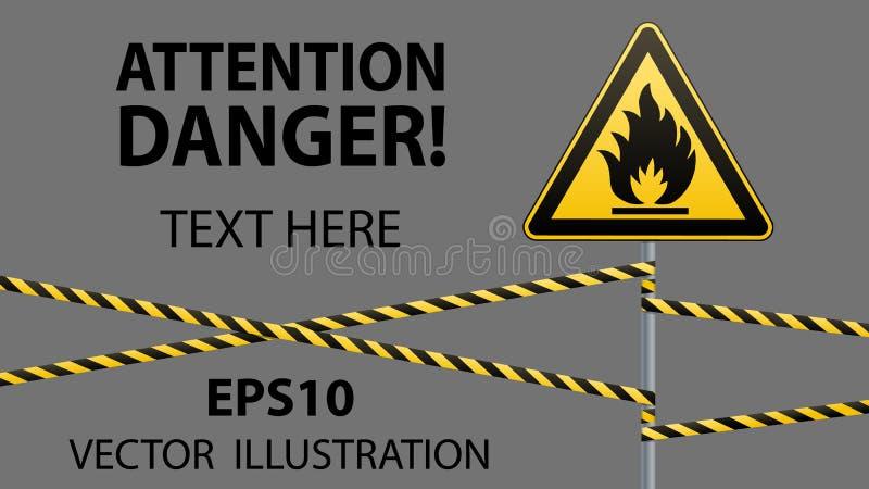Предосторежение - окружающая среда опасности пожара горючая Горючие жидкости или поверхность Лента барьера вектор изображения илл бесплатная иллюстрация
