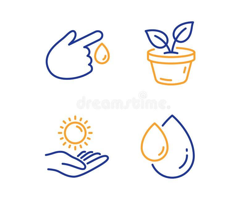 Предохранение от листьев, Солнца и значки донорства крови набор Знак падения масла Вырастите завод, ультрафиолетов забота, ушиб r бесплатная иллюстрация