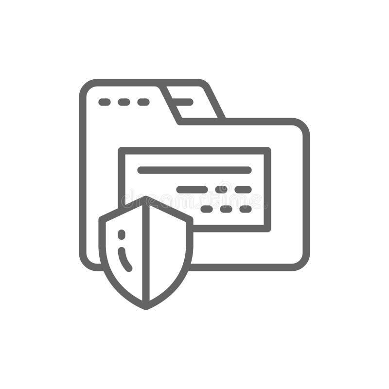 Предохранение от папки, конфиденциальная информация, линия значок безопасностью интернета бесплатная иллюстрация