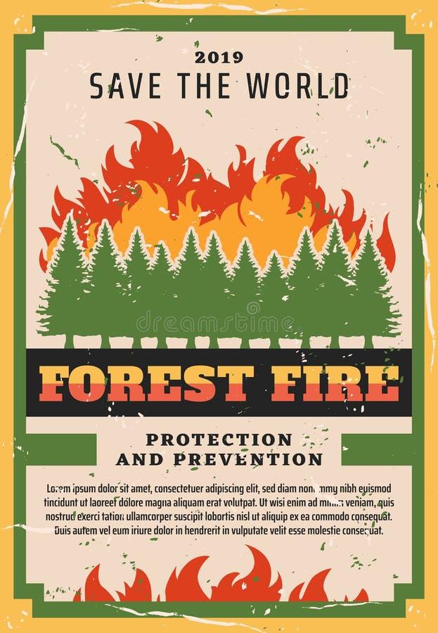 Предохранение от природы, бой лесного пожара иллюстрация вектора