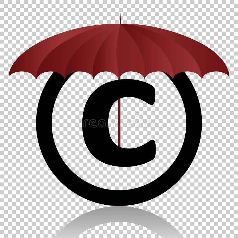 Предохранение от символа авторского права изолированное на прозрачной предпосылке Черный символ для вашего дизайна Иллюстрация ве иллюстрация штока