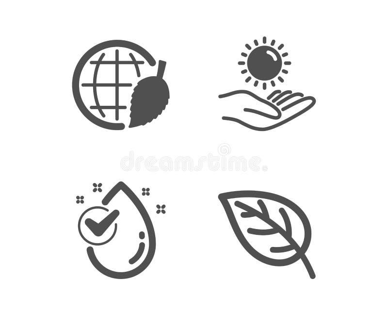 Предохранение от Солнца, день окружающей среды и падение воды значки Знак лист Ультрафиолетов забота, безопасный мир, чистый aqua бесплатная иллюстрация