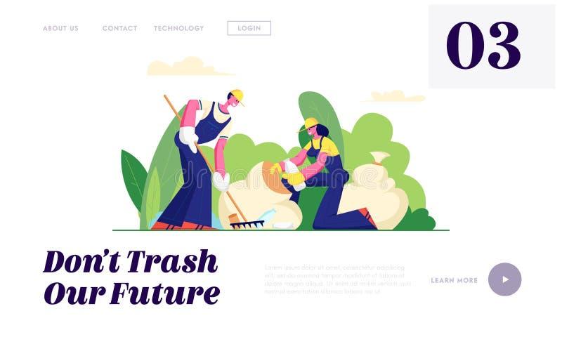 Предохранение от экологичности, отброс добровольных людей очищая в парке города Вызываться добровольцем, люди и женщины собирают  иллюстрация вектора