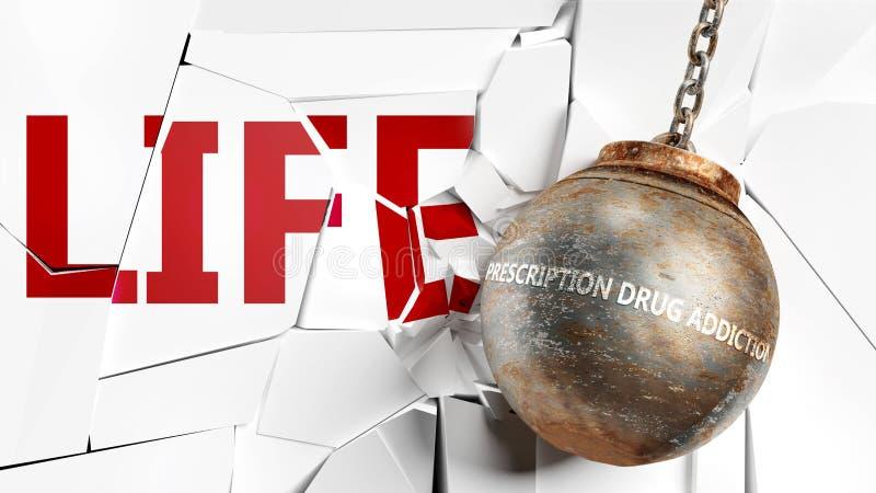 Предписанная наркомания и жизнь - изображена как слово 'Прескрипция наркомании и шар для крушения', символизирующее это. стоковое фото rf