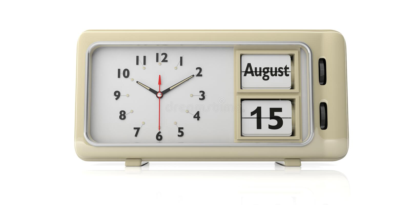Предположение даты девой марии на старом ретро будильнике, белой изолированной предпосылке, иллюстрации 3d стоковая фотография
