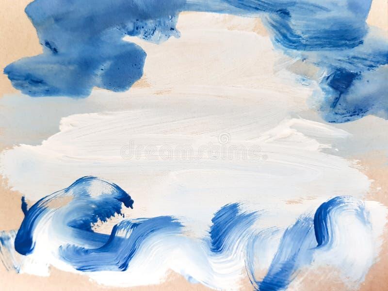 Предпосылка абстрактного голубого искусства крася Абстрактные волны стоковое изображение