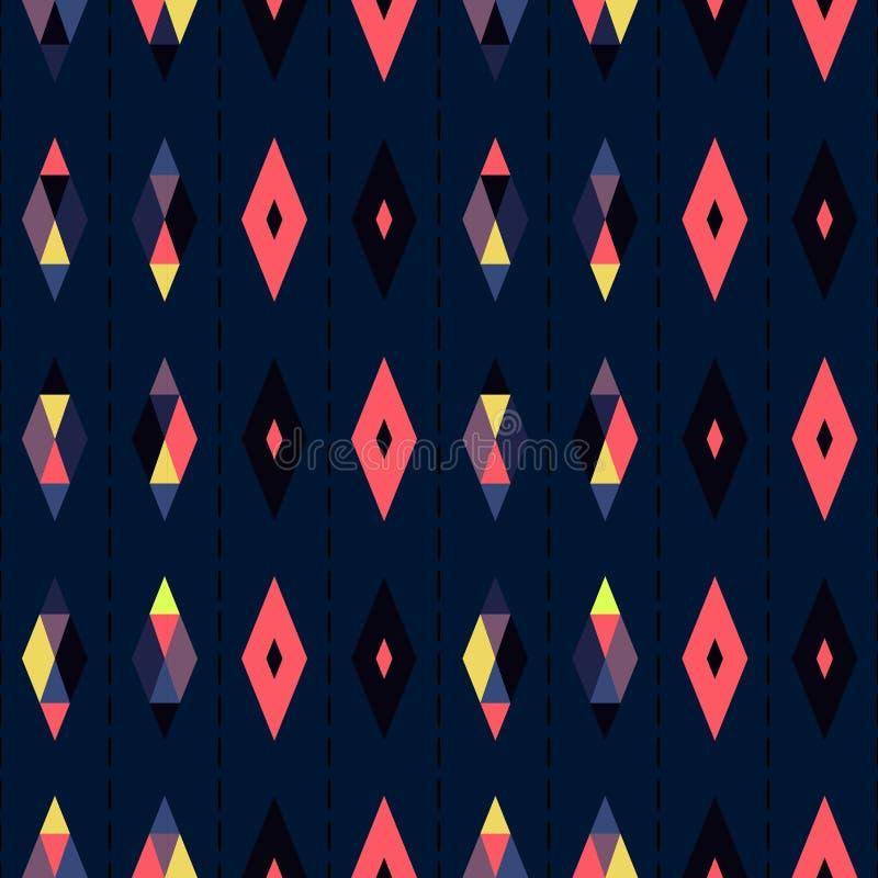 Предпосылка абстрактного искусства безшовного геометрического дизайна вектора картины винтажная ретро с красочными формами диаман иллюстрация вектора