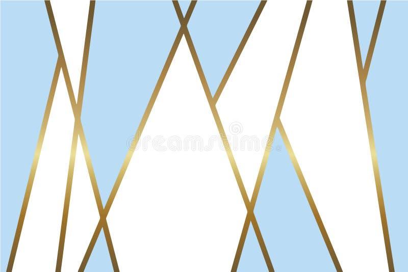 Предпосылка абстрактного света - голубая и белая вектора с сияющими металлическими золотыми линиями мозаики иллюстрация вектора