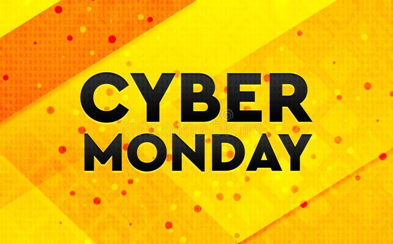 Предпосылка абстрактного цифрового знамени понедельника кибер желтая иллюстрация вектора