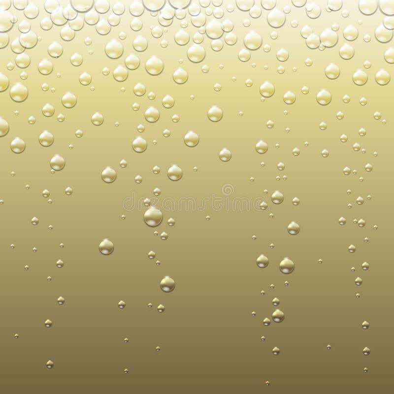 Предпосылка абстрактного шампанского золотая с пузырями Абстрактная текстура Шампани иллюстрация вектора