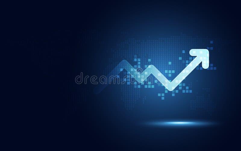 Предпосылка абстрактной технологии преобразования футуристической диаграммы стрелки повышения цифровая Большой запас валюты роста иллюстрация вектора