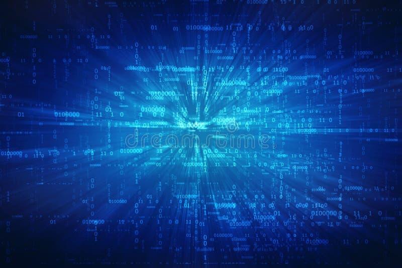 Предпосылка абстрактной технологии цифров, бинарная предпосылка, футуристическая предпосылка, концепция виртуального пространства иллюстрация вектора