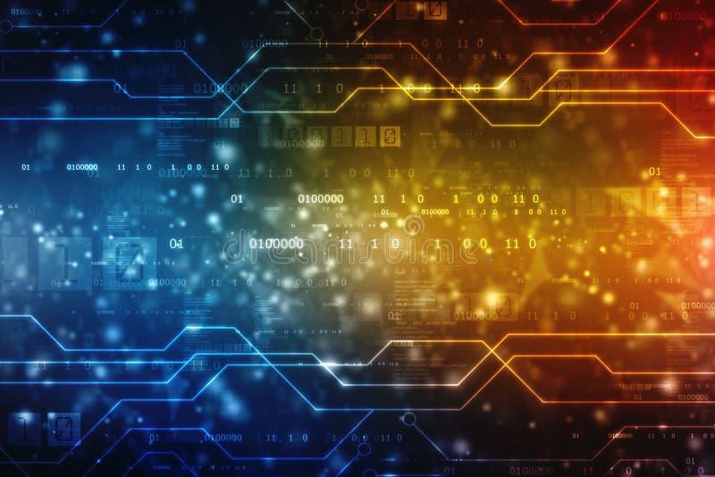 Предпосылка абстрактной технологии цифров, предпосылка космоса кибер, футуристическая предпосылка иллюстрация штока