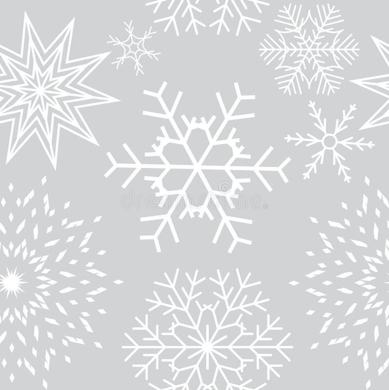 Предпосылка абстрактных снежинок рождества и Нового Года безшовная r иллюстрация вектора