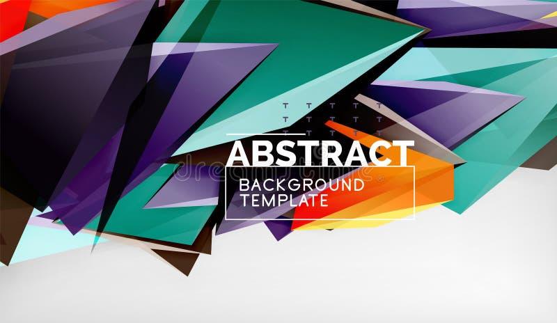 Предпосылка абстрактных треугольников цвета геометрическая Стиль мозаики триангулярный низкий поли иллюстрация вектора