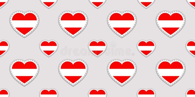 Предпосылка Австрии Картина австрийского флага безшовная Ярлыки вектора пустые лоснистые Символы сердец влюбленности Хороший выбо иллюстрация вектора