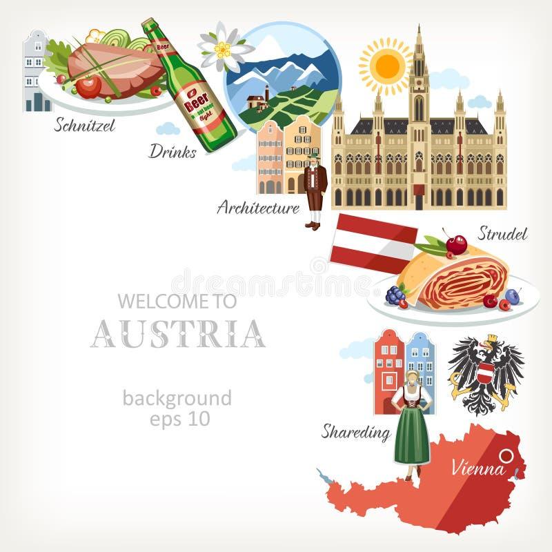 Предпосылка Австрии с традиционными символами иллюстрация штока