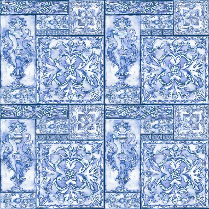Предпосылка акварели безшовная богато украшенная винтажная стоковое фото