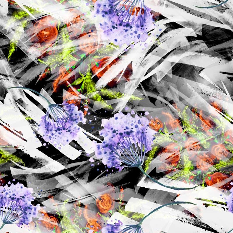 Предпосылка акварели безшовная винтажная с цветочным узором, ветвью розового цветка, листьев, лаванды, полевого цветка иллюстрация штока