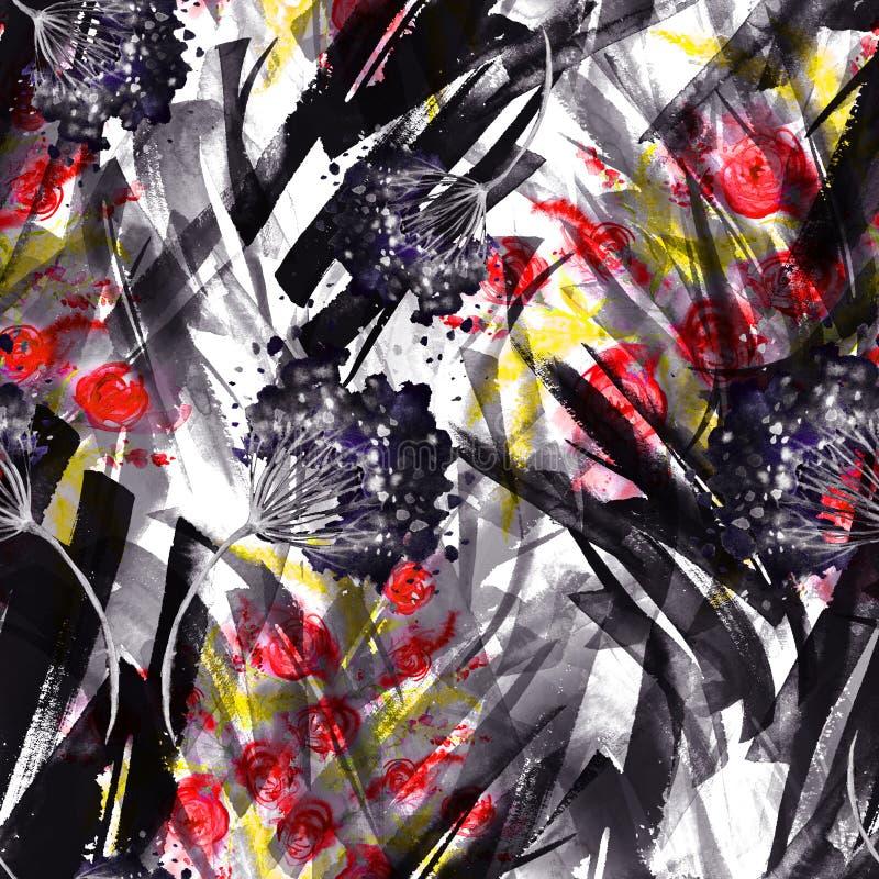 Предпосылка акварели безшовная винтажная с цветочным узором, ветвью розового цветка, листьев, лаванды, полевого цветка стоковое изображение rf