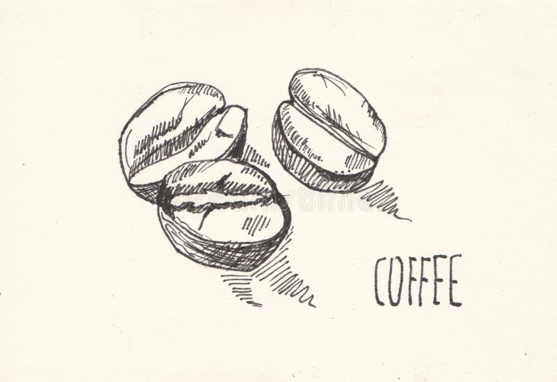 Предпосылка акварели бумаги зерна кофе, красивая творческая планета стоковое изображение