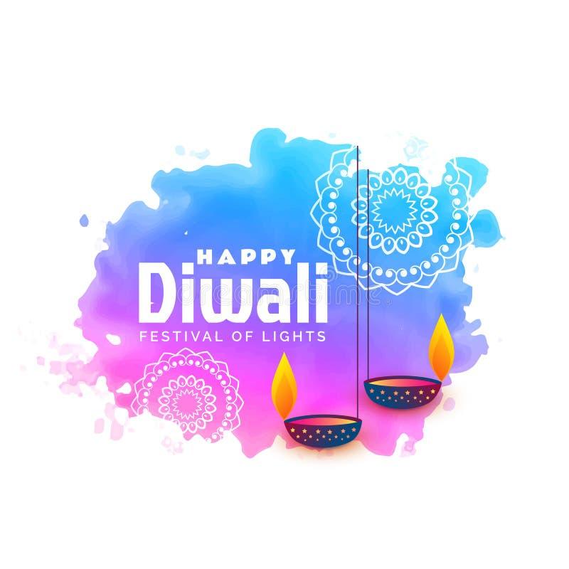 предпосылка акварели для счастливого фестиваля diwali с висеть diy бесплатная иллюстрация