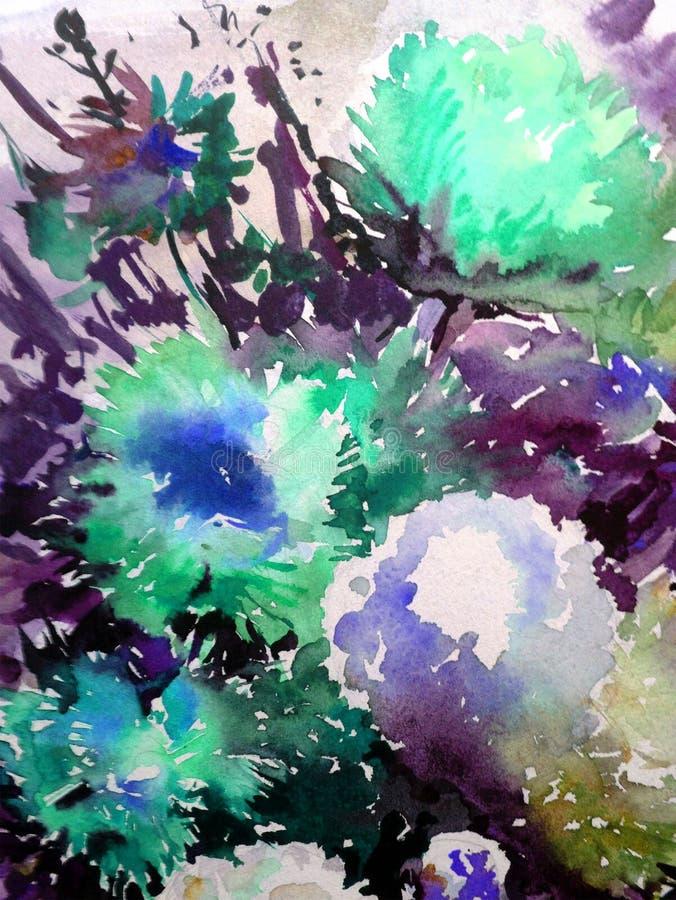Предпосылка акварели красочная яркая текстурированная абстрактная handmade желтый цвет картины сердца цветков падения бабочки фло иллюстрация штока