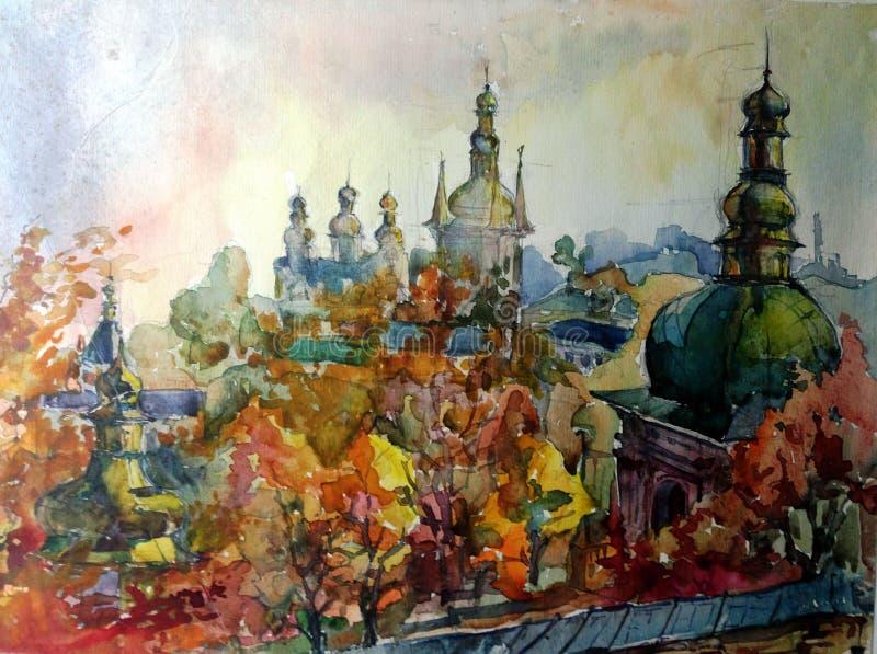 Предпосылка акварели красочная яркая текстурированная handmade Ландшафт Сделанная картина исторических собора и городка колокола, иллюстрация вектора