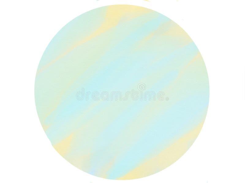 предпосылка акварели логотипа круга Мягк-цвета винтажная пастельная абстрактная с покрашенными тенями голубого и желтого цвета стоковое изображение rf