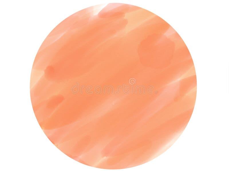предпосылка акварели логотипа круга Мягк-цвета винтажная пастельная абстрактная с покрашенными тенями оранжевого цвета стоковые фотографии rf
