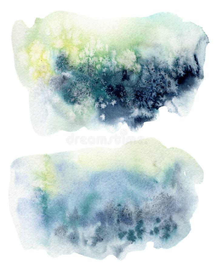 Предпосылка акварели подводная Рука покрасила текстуру конспекта моря или океана Акватическая иллюстрация для дизайна, печать или иллюстрация штока