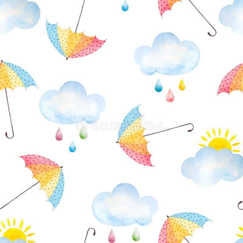 Предпосылка акварели с зонтиками бесплатная иллюстрация