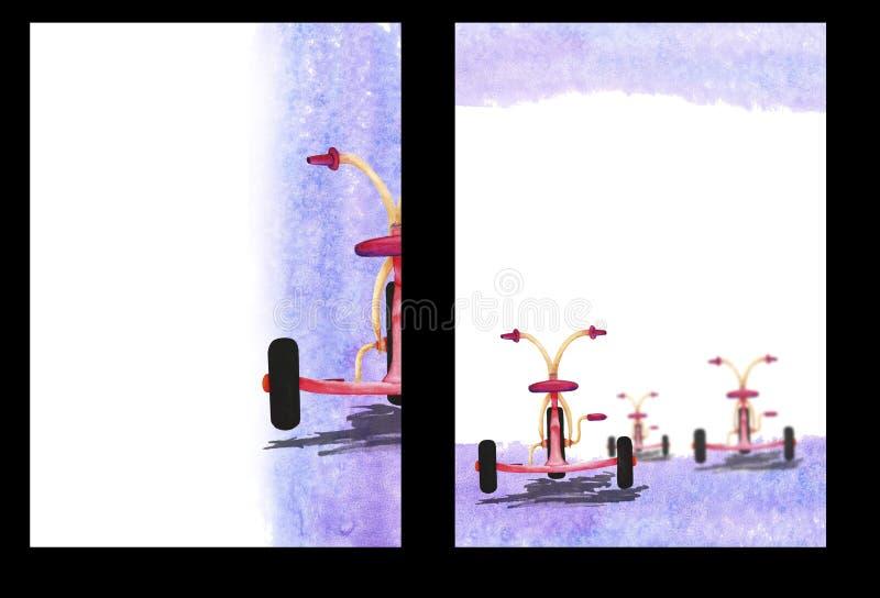 Предпосылка акварели с изображением велосипеда ` s ребенка, A4 форматом, чертеж руки, шаблон формы стоковое изображение rf